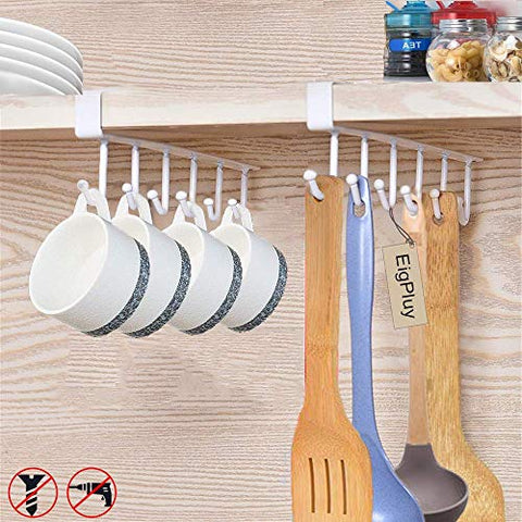 "EigPluy 2pcs Mug Hooks Under Shelf Mug Holder Cups Storage Rack Drilling Free Coffee Cups Holder Kitchen Utensil Holder Key Hooks Ties Belts Scarf Hanging Hooks Rack,Fit for The Cabinet 0.8"" or Less"