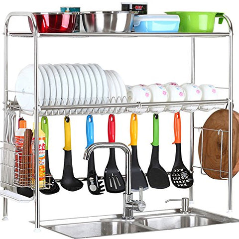 2-Tier SUS304 Stainless Steel Adjustable Dish Drying Rack Utensil Holder,Over the Sink Kitchen Storage Shelf (Double Groove)