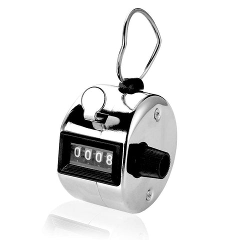 2 pcs Hand Tally Counter, 4 Digit Number Resettable Handheld Pitch Click Counter Lap Tracker for Golf Score Baseball Attendance Event, Manual Mechanical Clicker with Finger Ring