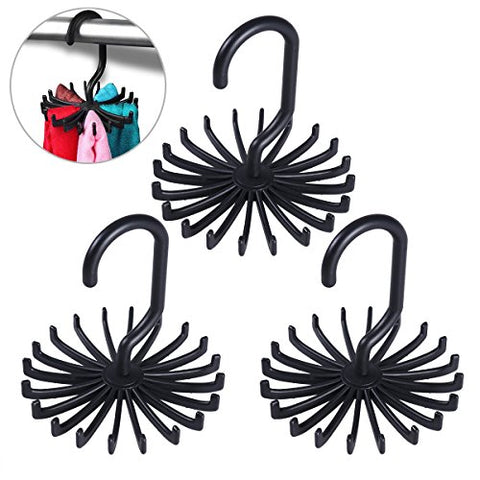 Yardwe 3pcs Tie Rack Hanger Necktie Closet Storage Rack Rotating Scarf Belt Organizer Holder (Black)