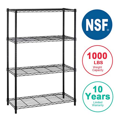 4-Shelf Storage Shelves Heavy Duty Shelving Unit for Kitchen Metal Shelves Garage Organizer Wire Rack Shelving Storage Unit Shelf Adjustable Utility NSF Certification Commercial-14x36x54 Inch
