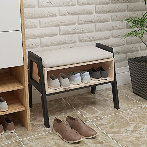 Ansley&HosHo Stackable Entryway Shoes Bench Seat Rack Wood Shoe Cabinet with Storage for Hallway Modern Shoe Stool Small Space Door with Free Cushion Changing Shoes Utility Storage Rack Shelve