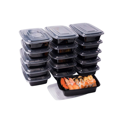 Meal Prep Containers, 50 Pack Disposable Plastic Bento Insulated Lunch Box Reusable Healthy Food Storage with Lids for Microwaveable Dishwasher Freezer Safe (1000ML/ 34 OZ)