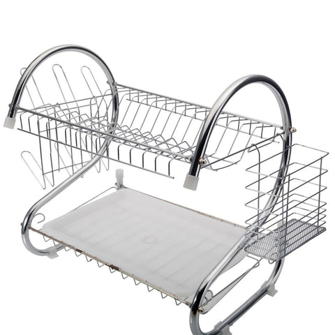 "Dtemple 2-Tier Stainless Steel Dish Drying Rack Kitchen Cup Tray Cutlery Dish Drainer with Drain Board 17.2"" x 14.8"" x 9.8"" (US STOCK)"