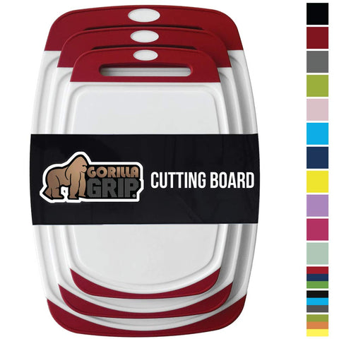 GORILLA GRIP Original Reversible Cutting Board, 3-Piece, BPA Free, Dishwasher Safe, Juice Grooves, Larger Thicker Boards, Easy Grip Handle, Non-Porous, Extra Large, Kitchen, Set of 3, Red