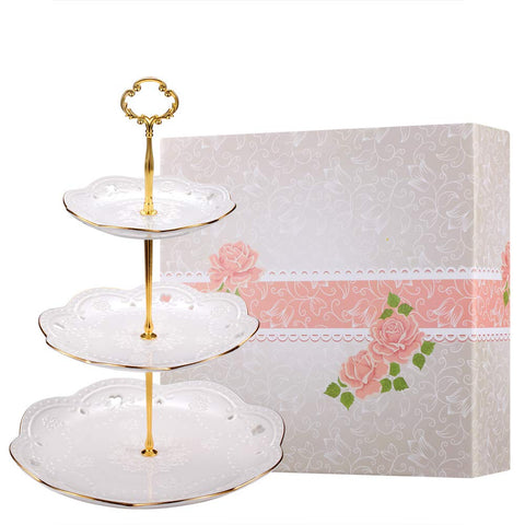 BonNoces 3-Tier Porcelain Embossed Cupcake Stand - Pure White Rimmed with Gold Dessert Cake Stand - Pastry Serving Tray Platter for Tea Party, Wedding and Birthday