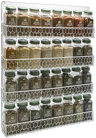 Sorbus Spice Rack Organizer [4 Tier] Country Rustic Chicken Herb Holder, Wall Mounted Storage Rack, Great for Storing Spices, Household Items and More (White)
