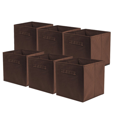 ShellKingdom Storage Bins, Foldable Fabric Storage Cubes and Cloth Storage Organizer Drawer for Closet and Toys Storage,6 Pack(Chocolate)