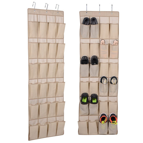 H E HEIM & ELDA Over The Door Shoe Organizer - 24 Pockets Hanging Shoe Storage with 3 Customized Strong Metal Hooks for Closet Pantry Kitchen Accessory - Space Saving Solution(64 x 19 inch)