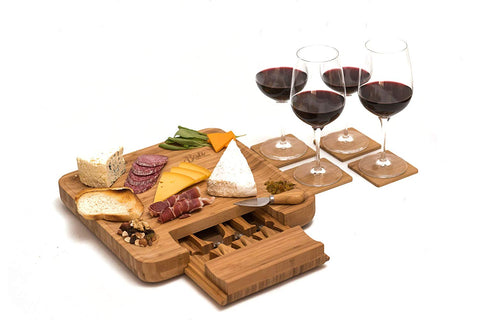 Bamboo Cheese Board Set with Cutlery and Wine Coasters (9-Piece Set) Serve Meat, Cheeses, Crackers | 4 Stainless-Steel Cutting & Serving Knives | Slide-Out Drawer | Includes 4 Wine Coasters