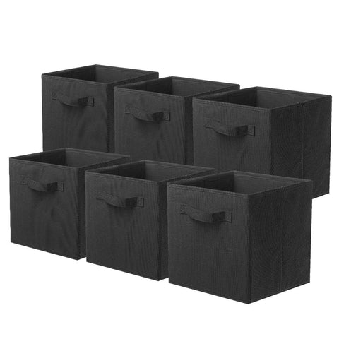 ShellKingdom Storage Bins, Foldable Fabric Storage Cubes and Cloth Storage Organizer Drawer for Closet and Toys Storage,6 Pack(Black)