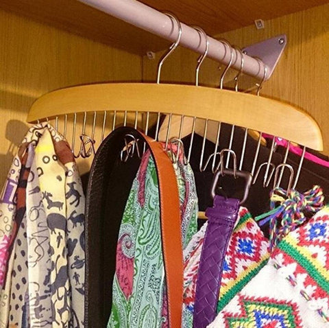 Louise Maelys Wooden 12 Hooks Tie Rack Hanger-Multipurpose Closet Organizer Holds for Tie Belt Scarf