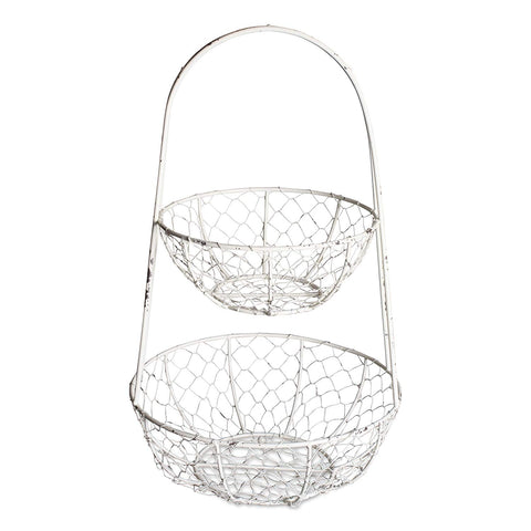 DII Z01923 Vintage Metal Chicken Wire 2 Tier Fruit And Vegetable Standing Storage Basket, Antique White