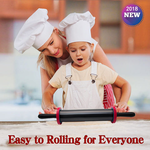 Adjustable Rolling Pin with Thickness Rings and Handles Stainless Steel for Baking Tools or Kitchen Gadgets,High Quanlity Biger Size More Force-Saving for Dough Pizza Pie Cookie