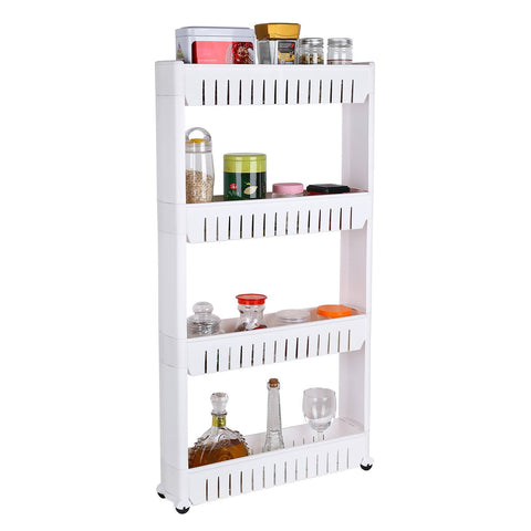 Homfa 4-Tier Gap Kitchen Storage Slim Slide Out Tower Rack Shelf with Wheels, Utility Trolley Organization Serving Cart on Casters