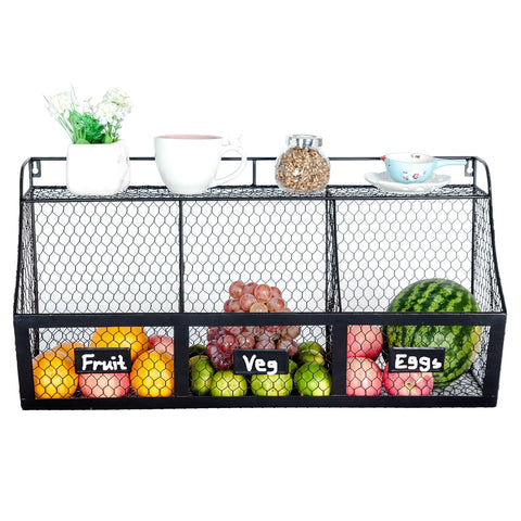 2 Tier Fruit Basket Double Hammock Kitchen Produce Storage Organizer Table Counter top Centerpiece Vegetables Rack Holder Swing Display Stand Pantry Countertop Fruits Metal Baskets Raw Rustic Brown