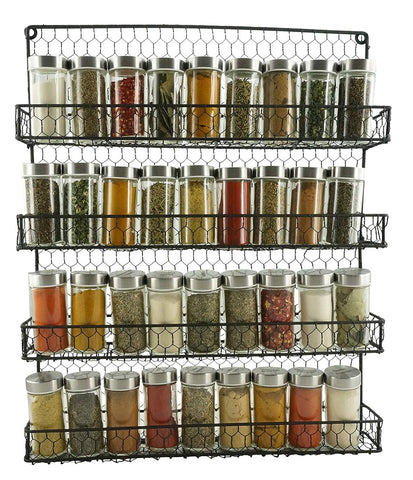 4 Tier Metal Spice Rack Wall Mount Kitchen Spices Organizer Pantry Cabinet Hanging Herbs Seasoning Jars Storage Closet Door Cupboard Mounted Holder Black