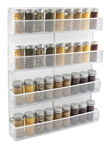 ESYLIFE 6 Tier Wall Mounted Spice Rack Organizer - Made of Sturdy Punching Net, Black