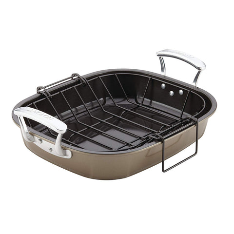 Anolon Advanced Nonstick 16-Inch x 13.5-Inch Roaster with Hanging U-Rack, Bronze