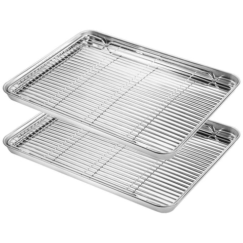 Baking Sheet with Rack Set, Yododo Stainless Steel Baking Pan Tray Cookie Sheet with Cooling Rack, Non Toxic & Healthy, Easy Clean & Dishwasher Safe, Size 16 x 12 x 1inch - 4 Pack (2 Pans + 2 Racks)