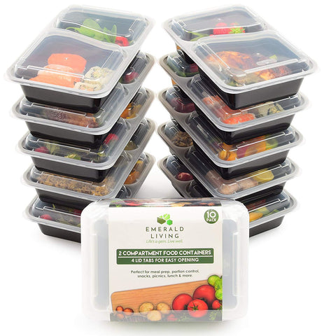 [10 pack] 2 Compartment BPA Free Meal Prep Containers. Reusable Plastic Food Storage Containers with Lids. Stackable Microwavable Freezer & Dishwasher Safe Lunch Box Container Set + EBook [30 oz]