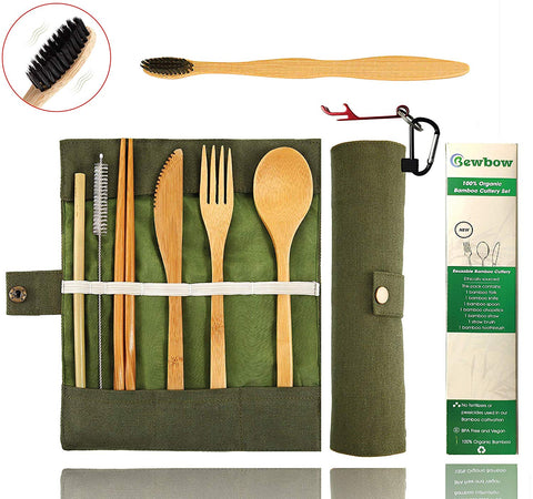 Bamboo Utensils Cutlery Set BEWBOW – Reusable Cutlery Travel Set – Eco-Friendly Wooden Silverware for Kids & Adults – Outdoor Portable Utensils with Case – Bamboo Spoon, Fork, Knife, Brush, Chopsticks