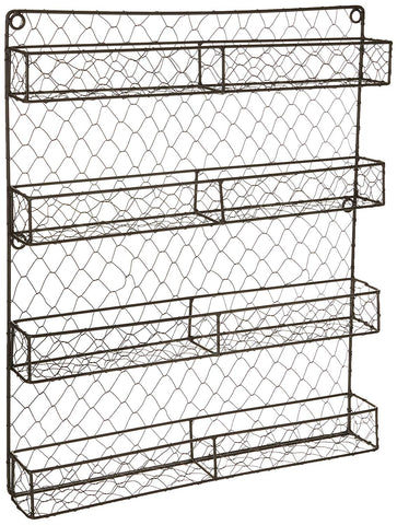 "DII Z01445 Vintage Spice Rack, Mounted Chicken Wire Organizer for Kitchen Wall, Pantry, or Cabinet, 16.94"" x 2.3"" x 19.96"", 4 Tier Rustic"