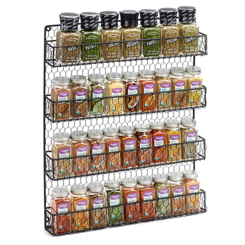 1790 Rustic Chicken Wire Spice Rack - Wall Mount Pantry Organizer - 4 Tiers Black