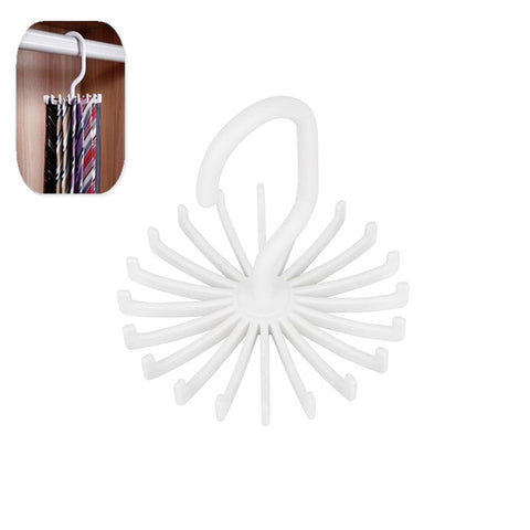 1 Piece Plastic Portable Tie Rack For Closets Rotating Hook Holder Belts Scarves Hanger For Clothing Organizer