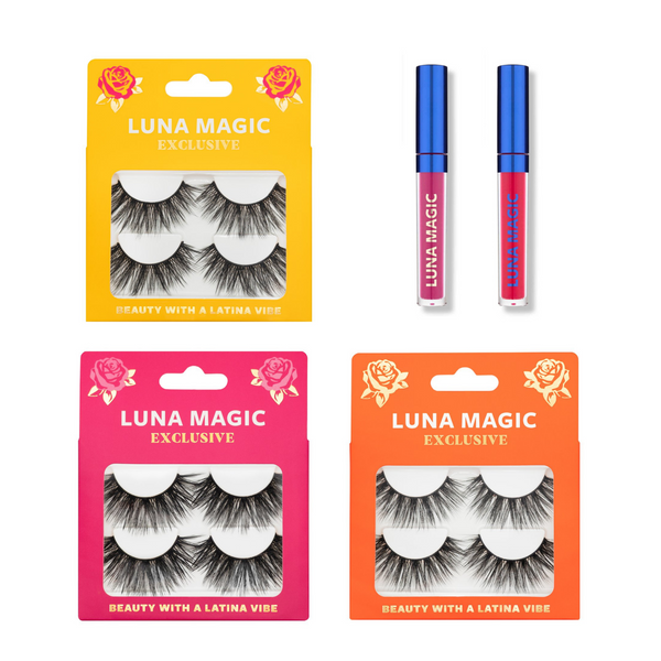FAUX MINK LASHES & LIPPIE SET, 5 Pcs