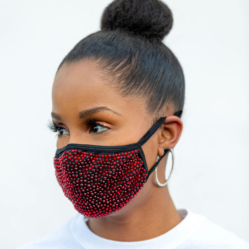 REUSABLE COTTON/RHINESTONE FACE MASK, BLACK/RED