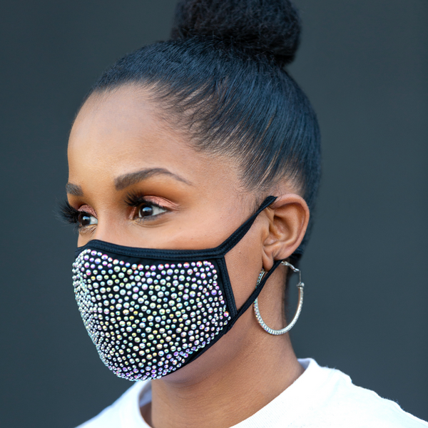 REUSABLE COTTON/RHINESTONE FACE MASK, BLACK/MULTI