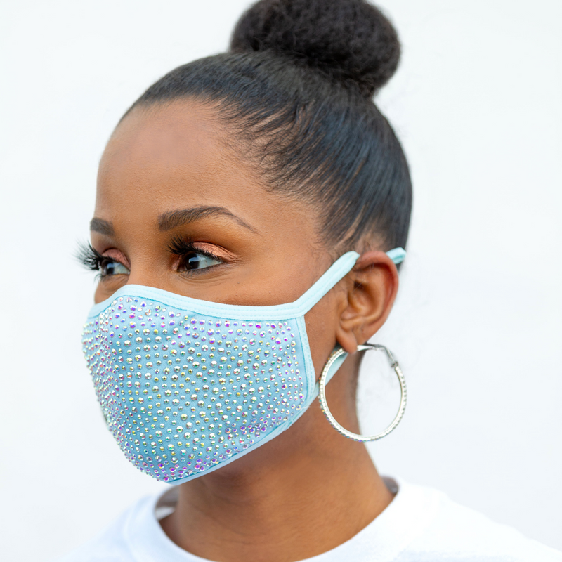 REUSABLE COTTON/RHINESTONE FACE MASK, BABY BLUE/MULTI