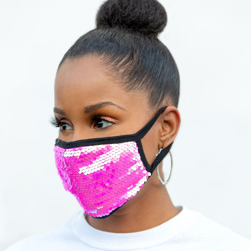 REUSABLE COTTON/SEQUIN FACE MASK, BLACK/PINK