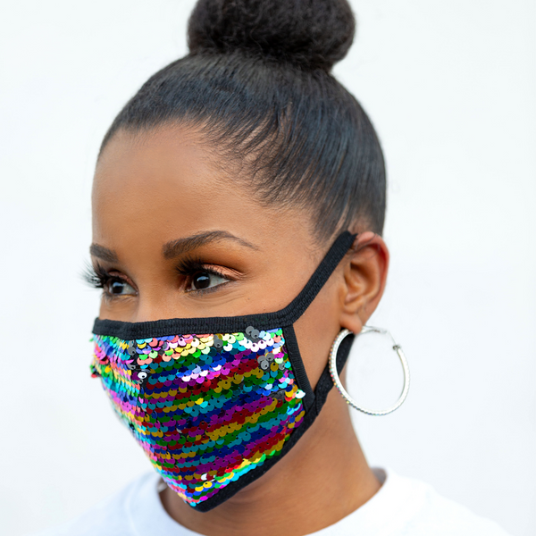 REUSABLE COTTON/SEQUIN FACE MASK, BLACK/MULTI