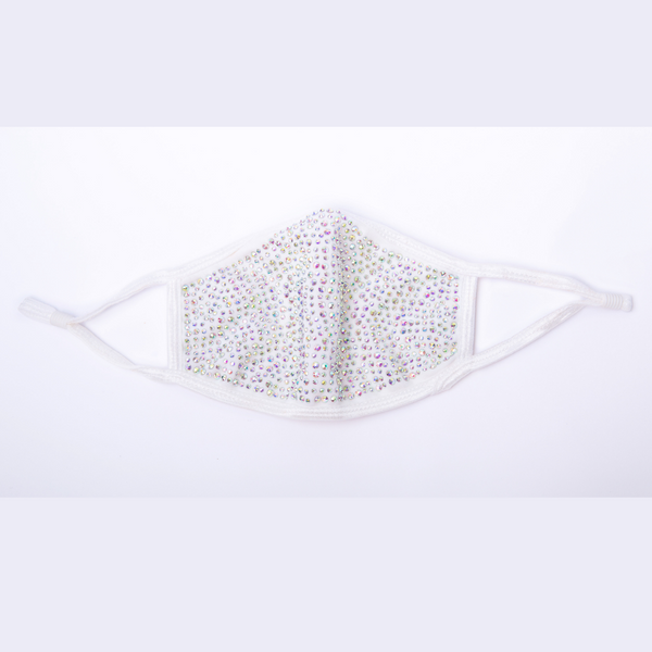 REUSABLE COTTON/RHINESTONE FACE MASK, WHITE/MULTI