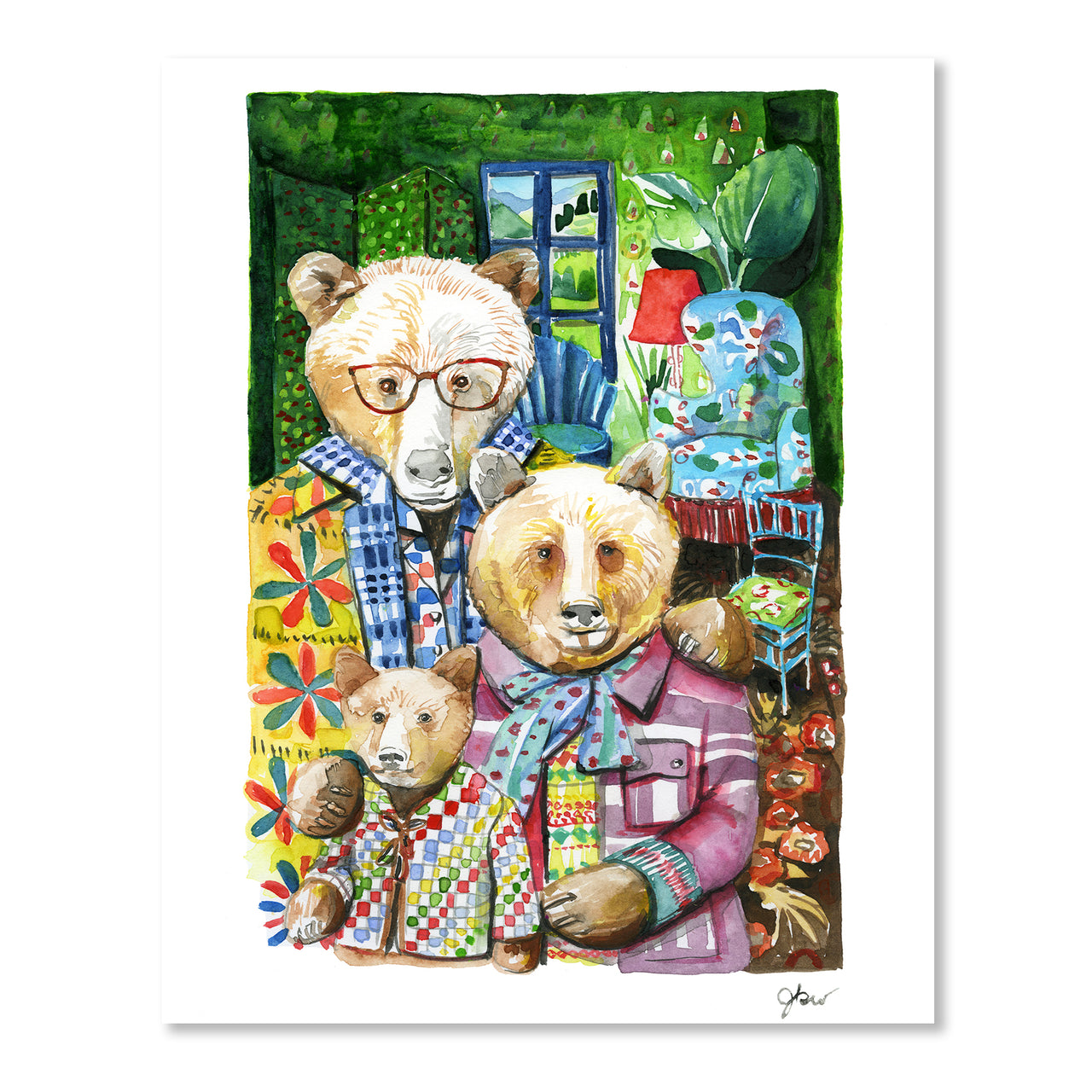 Three Bears Print by Jessie Kanelos Weiner