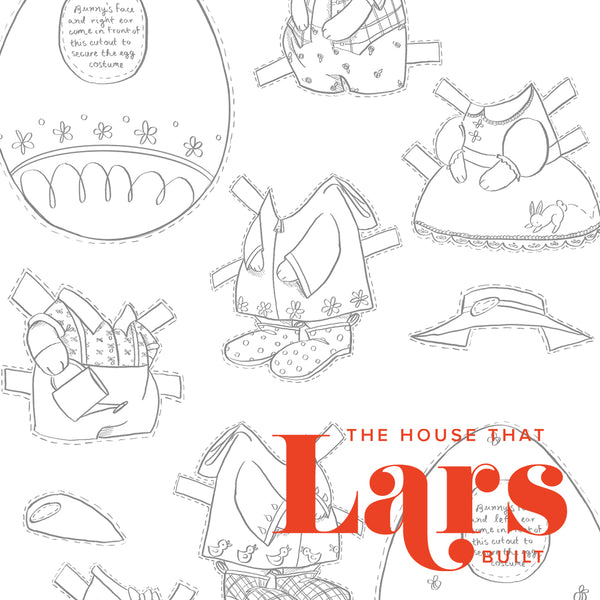 Easter Bunny Paper Dolls Coloring Page Set, PDF Printable