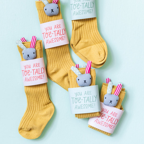 Mustard Yellow Bunny Socks for Toddler