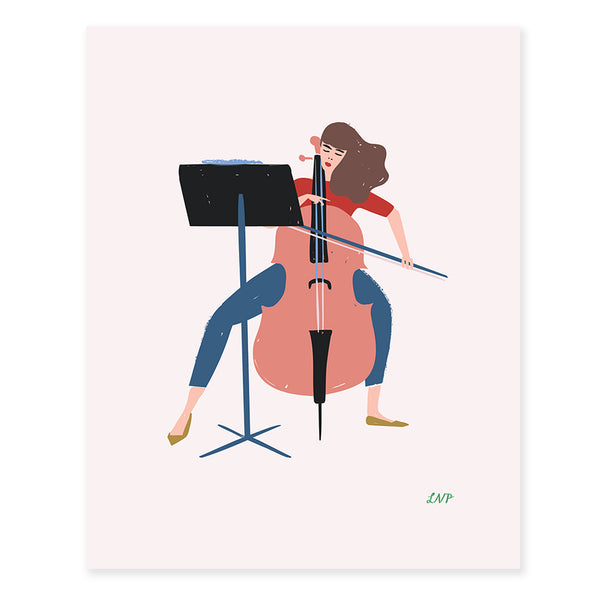 Cellist Print by Libby VanderPloeg