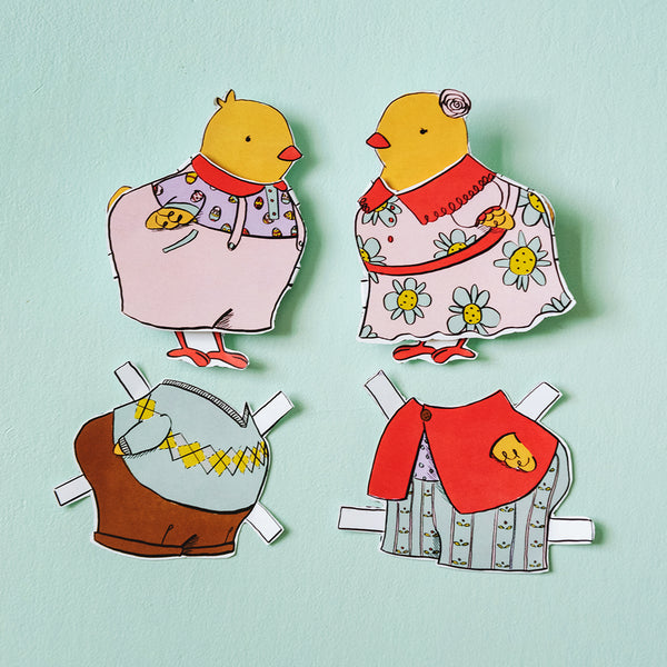 Easter Chick Paper Dolls, PDF Printable