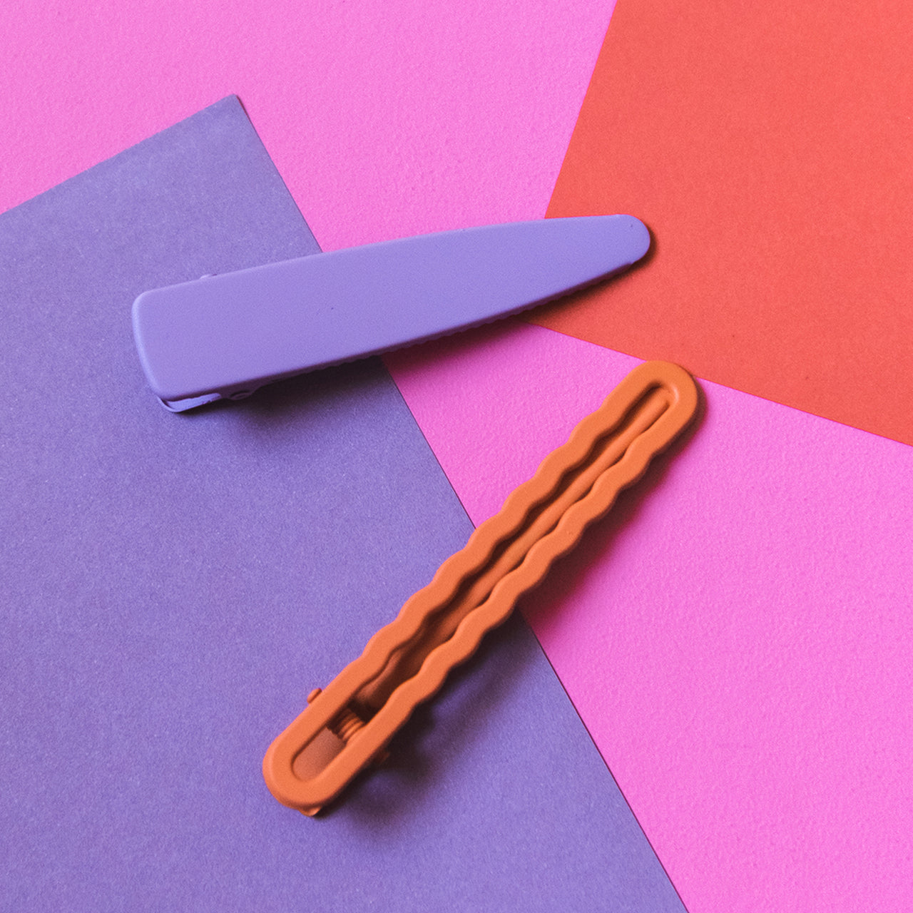 Burnt Orange & Purple Geometric Hair Clip Set