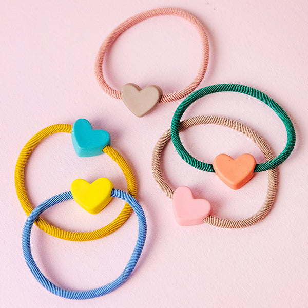 Rainbow Heart Bead Hair Ties (Set of 5)