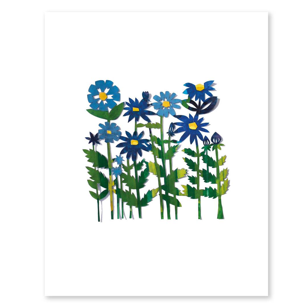 Field of Colored Flowers Papercut by Julie Marabelle