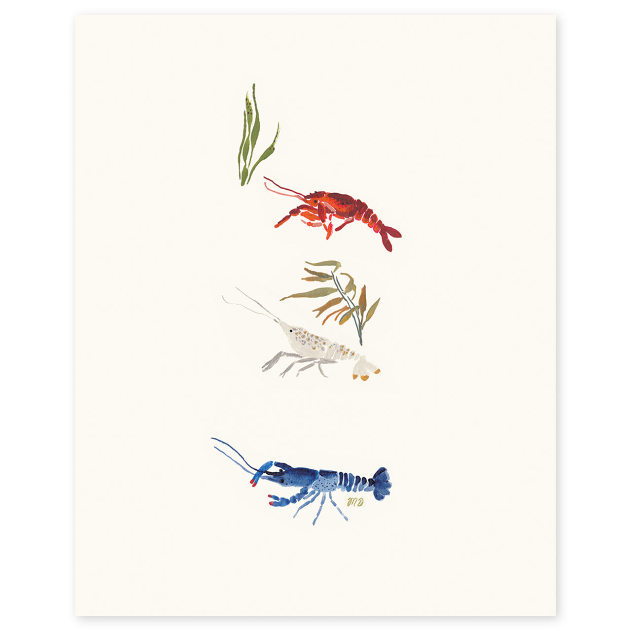 Red, White, and Blue Crayfish by Monica Dorazewski