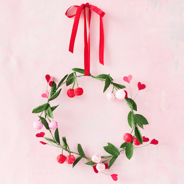 Crepe Paper Cherry Wreath Kit + Video Tutorial