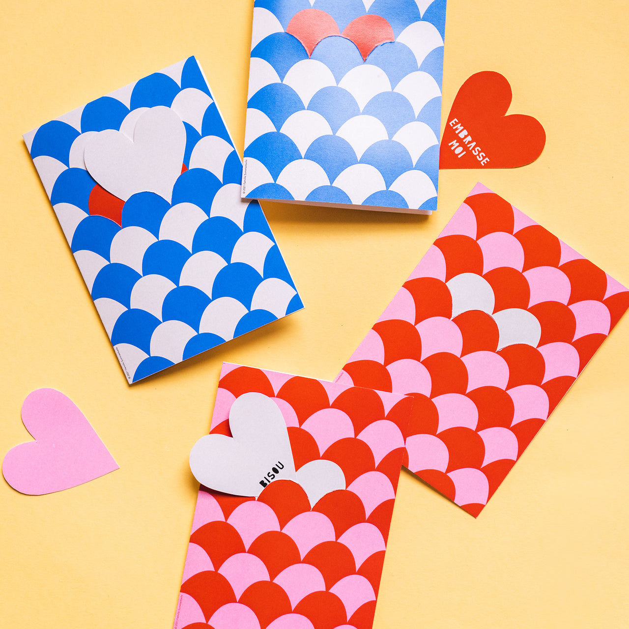 Heart Tile Valentine Cards by Julie Marabelle of Famille Summerbelle, PDF Printable
