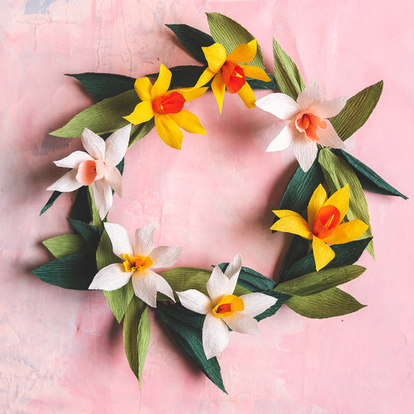 Paper Daffodil Wreath, PDF Template