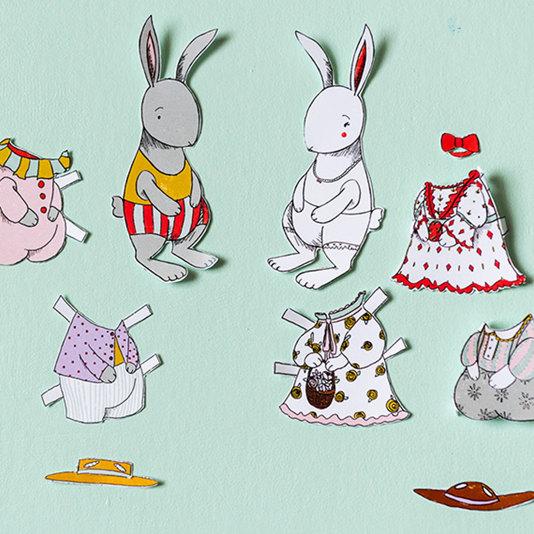 Easter Bunny Paper Dolls, PDF Printable