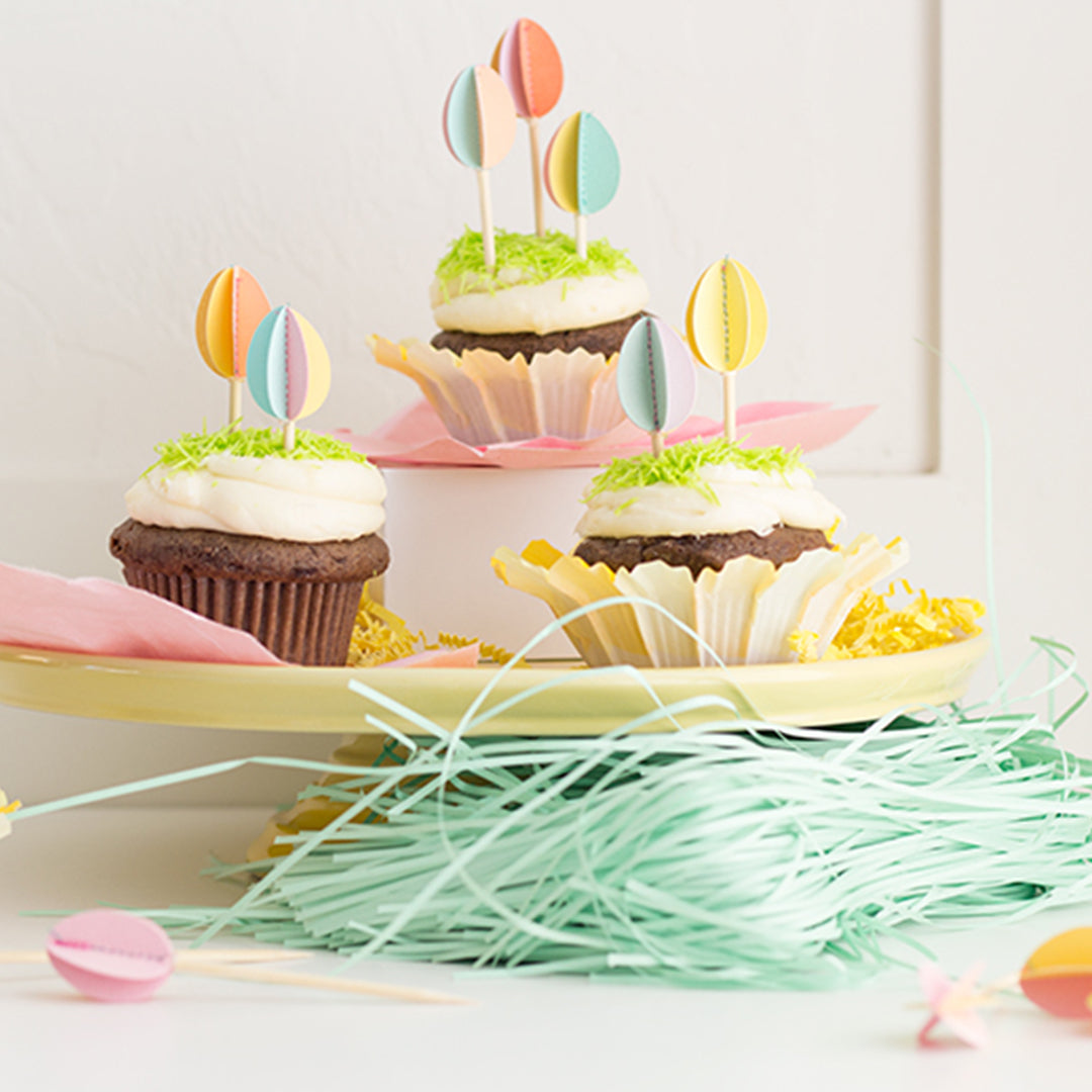 DIY Easter Egg Cupcake Toppers, SVG & PDF Template